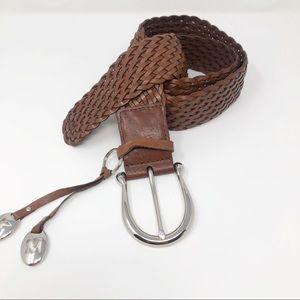 Michael Kors Tan Leather Braided Belt Silver XL